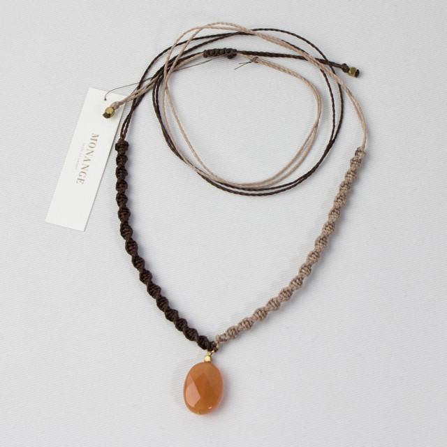 オレンジアベンチュリン ワックスコードネックレス【WN034】