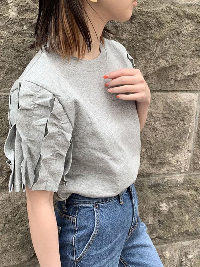 フリルラインスリーブTシャツ/[Color:グレー]