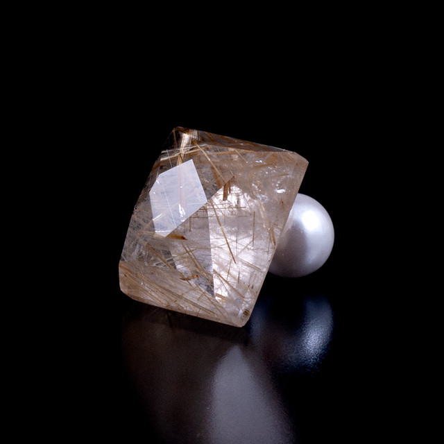 Gold rutile quartz earring / single