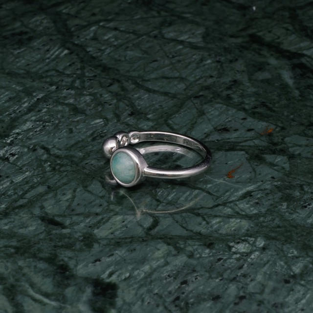 SINGLE MINI STONE OPEN RING SILVER 001