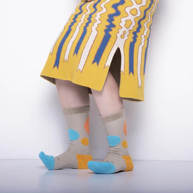 再入荷!!【Goodpair Socks】MY INNER BEAUTY・リバーシブルソックス/サークルベージュ