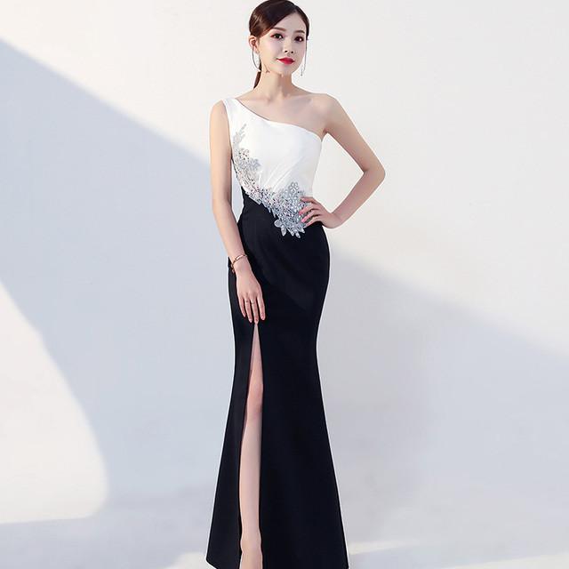 黒と白のステッチダイヤモンドドレス・YN2044