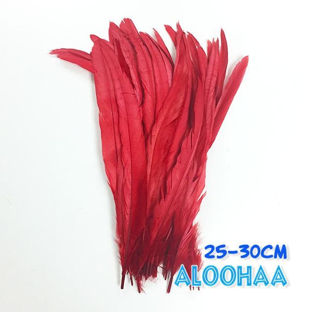 単色ロングフェザー 【レッド】25~30cm タヒチアン 衣装 材料 ルースターテール 染め 羽根