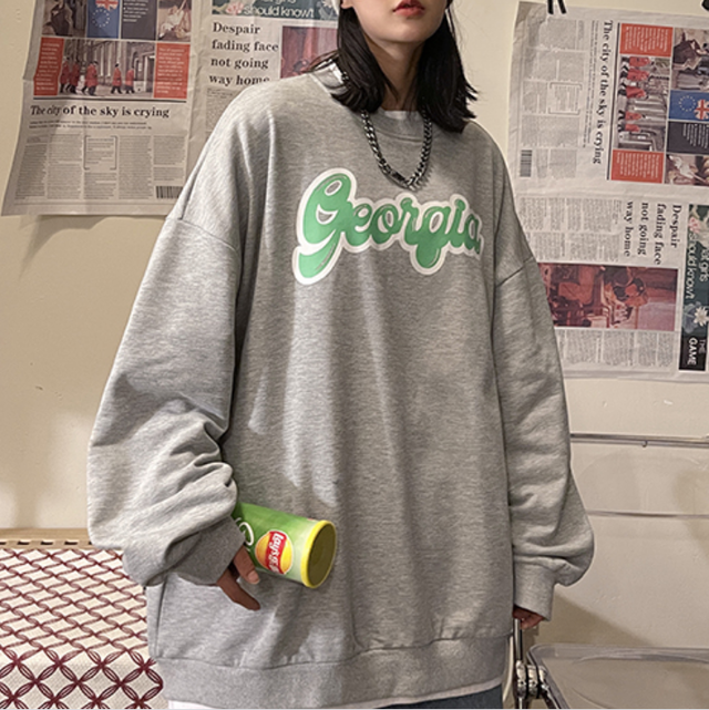 Over size front logo sweat  LD0520