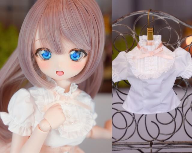 MDD対応OF【おしゃまブラウス(ホワイト&ピンクリボン)】 MDD Outfit【Oshama blouse (white & pink ribbon )】