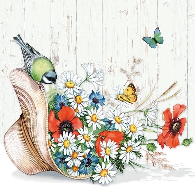 予約商品【Ambiente】バラ売り2枚 ランチサイズ ペーパーナプキン Summer Hat ホワイト