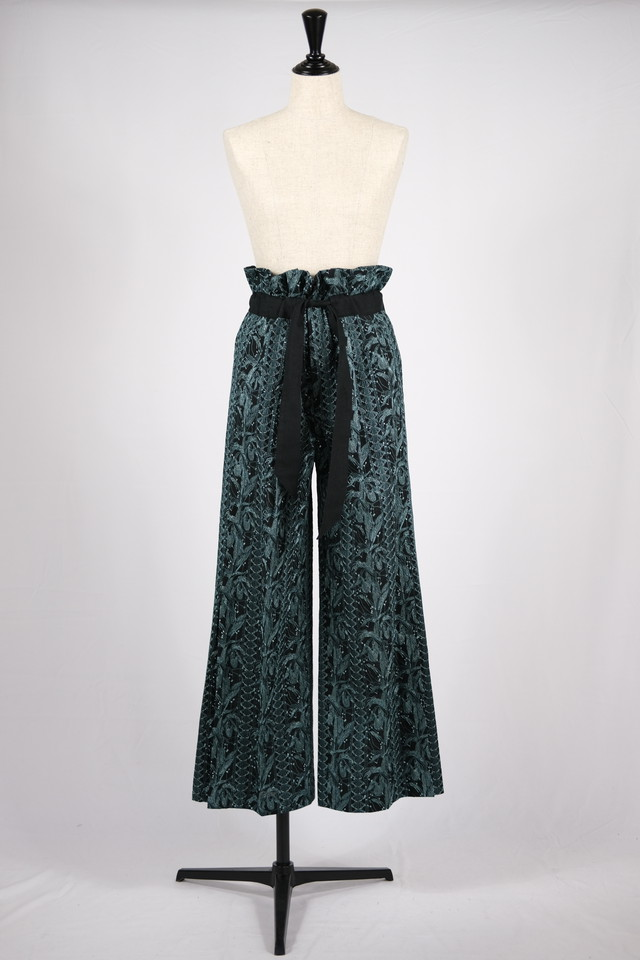 【EBONY】flower embroidery gather pants - black flower