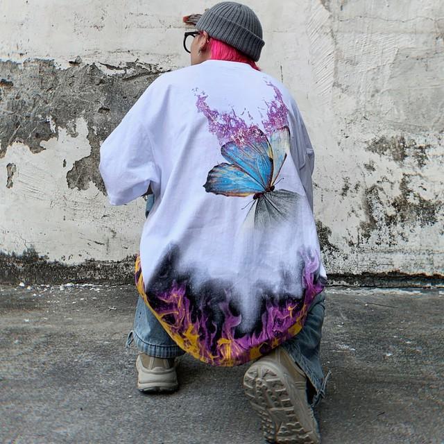 【トップス】蝶図柄ストリート系プリントペアルックファッション半袖Tシャツ29850255