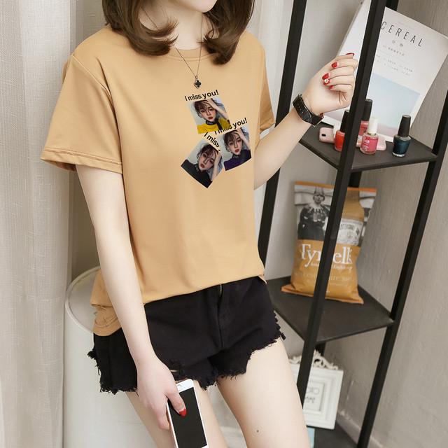 【tops】合わせやすい気質全開スウィートお流行り丸ネックTシャツ 22493284