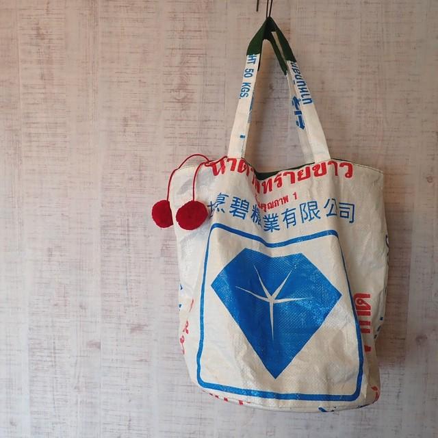 """""""makruu"""" 米袋巾着トートBag ブルーストーン"""