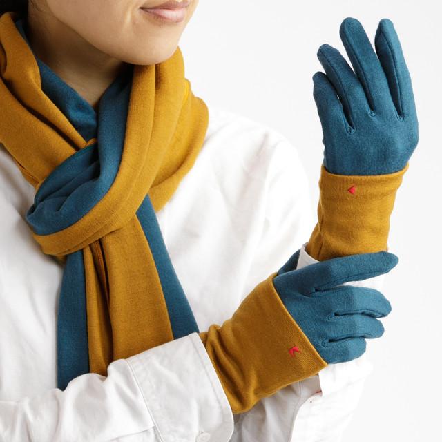 【セット販売】ターコイズ × マスタード コーデ(お得な3点セット) ロングマフラーと手袋にリストマフラーをプラス