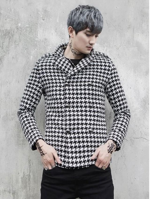 メンズ カジュアルジャケット アウター ギンガムチェック風 白黒 チェック柄 スタイリッシュ ピープス オルチャン 韓国ファッション 1226