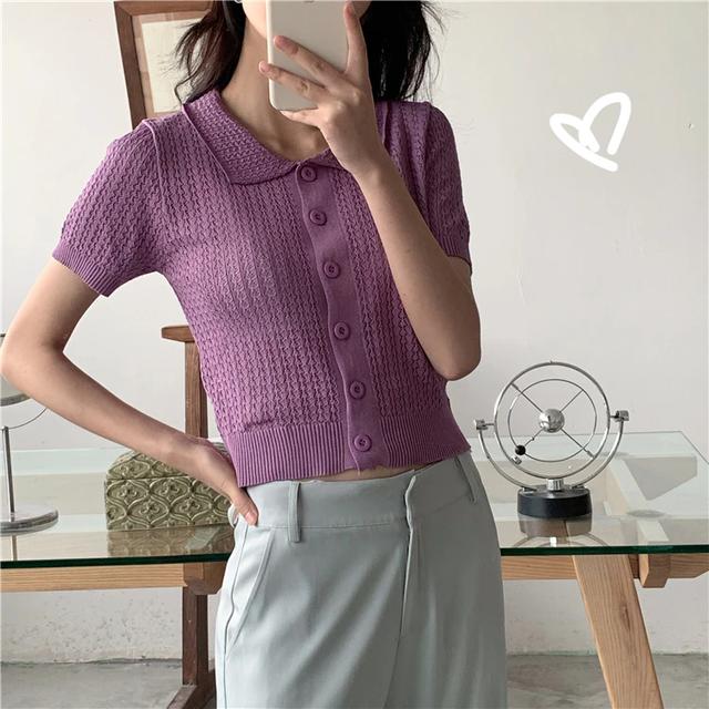 【トップス】襟付きニットトップス(purple)