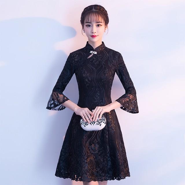 チャイナドレス ワンピース ドレス 改良型チャイナドレス チャイナ風服 スタンドネック 五分袖 膝丈 エレガント 着痩せ 上品 大きいサイズ S M L LL 3L レース 刺繍 ブラック 黒い