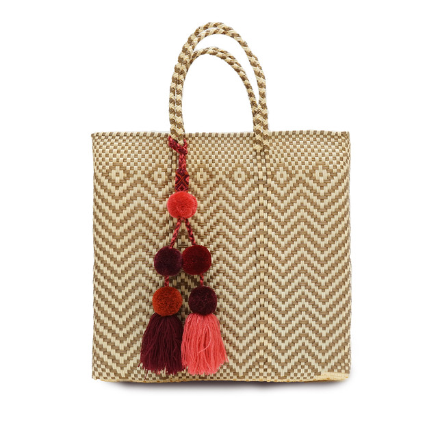MERCADO BAG JAGGY with POMPON - Gold x Cream(M) with RED MIX