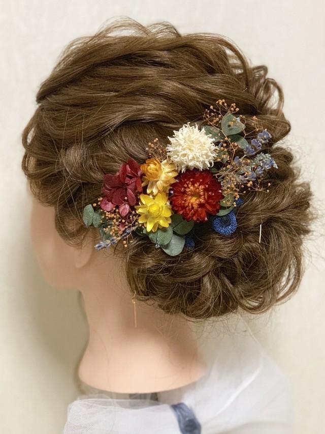 C2ドライフラワー 髪飾り 簪 プリザーブドフラワー 和装 着物 ヘア