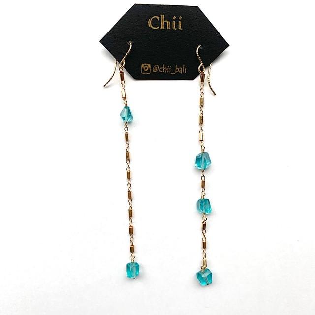 Chii アパタイトのミニロングチェーンピアス(K14GF使用・イヤリング可)