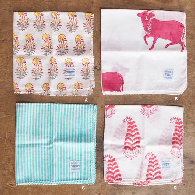 156ri049 block print handkerchief