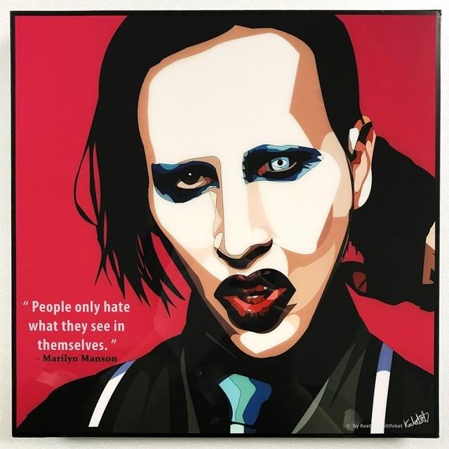 Marilyn Manson / マリリン マンソン「ポップアートパネル Keetatat Sitthiket」ポップアートフレーム ポップアートボード グラフィックアート ウォールアート 絵画 壁立て 壁掛けインテリア 額 ポスター プレゼント ギフト インスタ映え 音楽 キータタットシティケット