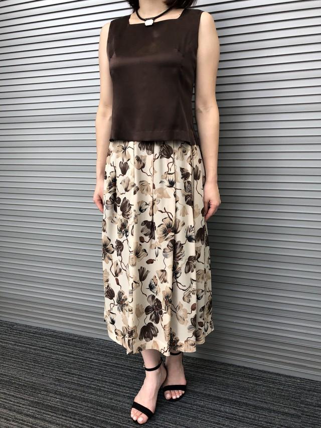 シルクジョーゼットプリントスカート