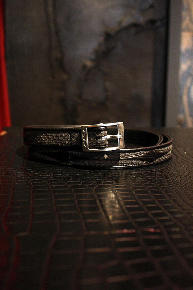 Item No.0057:Rizard Head×Bill Wall Leather SAMURAI Collection Limited Nallow Belt Blue  [RONIN]-牢人 【World Ltd 50pcs】
