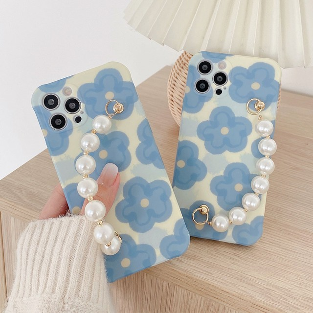 pearl chain flowers iphone case