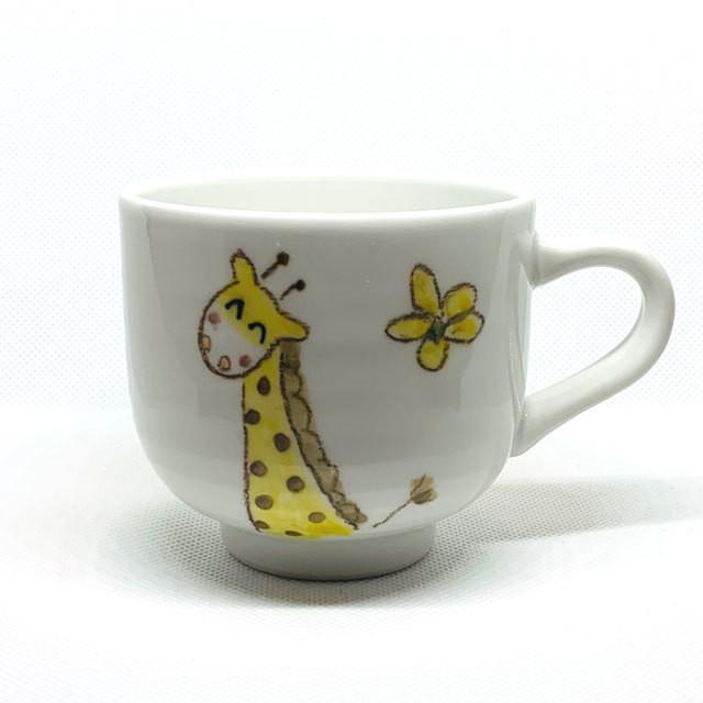 【砥部焼/輝山窯】こども食器・茶碗(きりん)