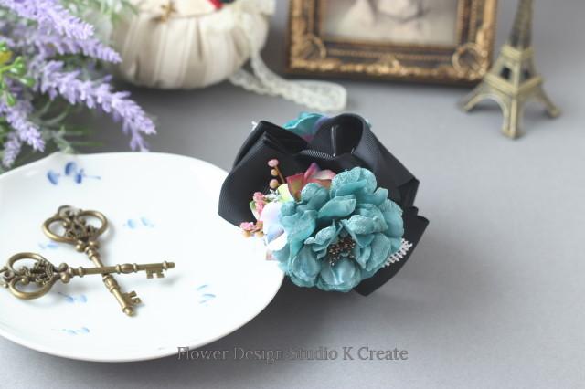 ブルーグリンの薔薇と紫陽花のバンスクリップ 髪飾り ヘアクリップ 青緑 お出掛け フォーマル