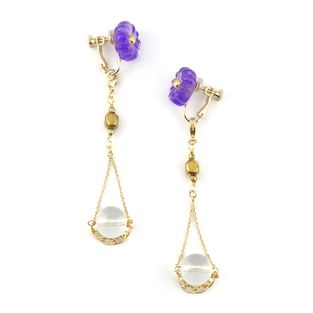 "【2way】 flower glass_vintage_earrings ""purple rain×pure ice"""