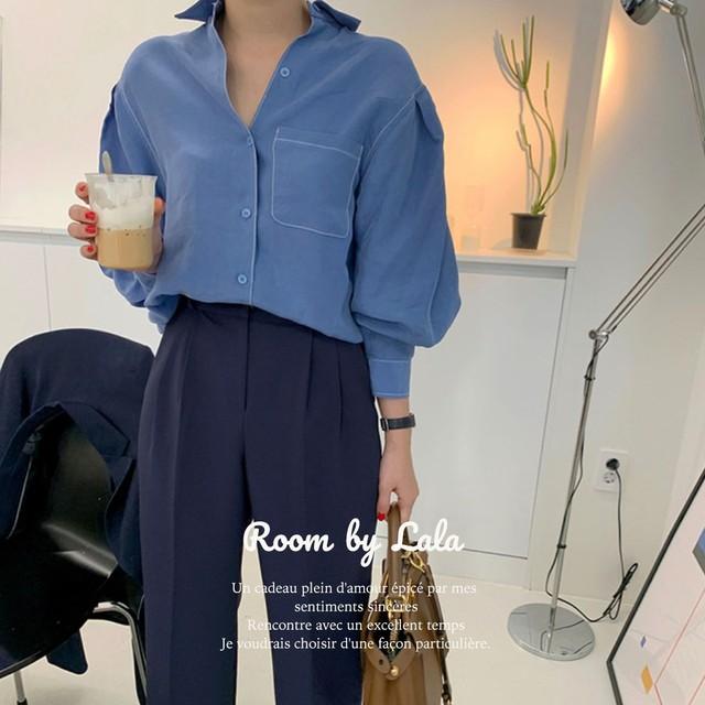 【即納】Blouse + high waist pants set / セットアップ /  LE202275