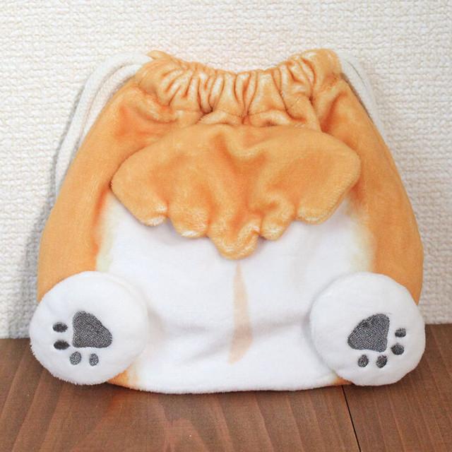 【ホワイトアンドピーチ】肉球ぺたんこポーチ(レインボー)【肉球グッズ 猫雑貨 犬雑貨】
