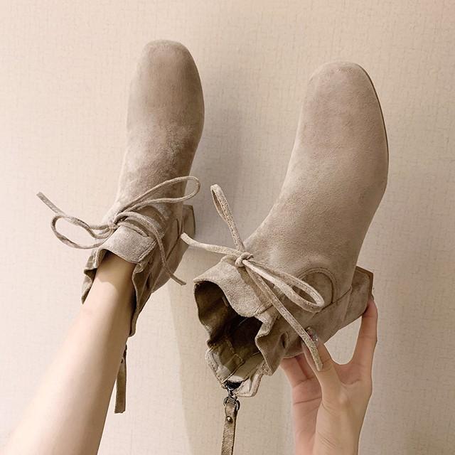 リボン ショートブーツ スニーカー シューズ 靴 2色 SHS342901