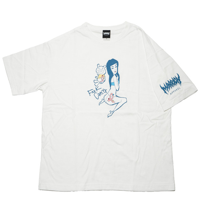 Fxxk Cancer 2 Chari Big Silhouette T-shirts (White)