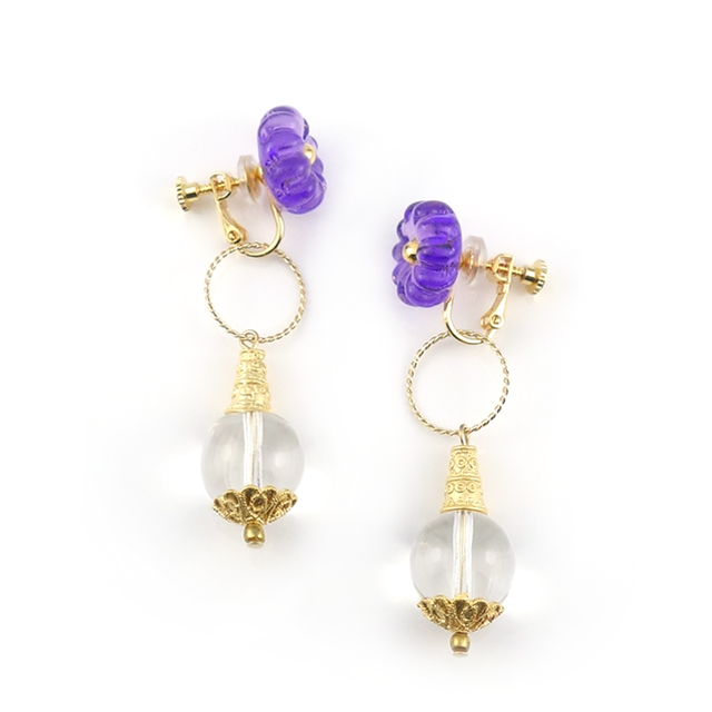 "【2way】 flower glass_earrings ""purple rain"" a005"