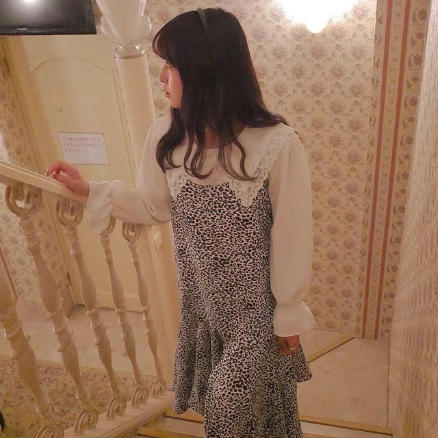 leopard ciffon cami onepiece (brown/white)