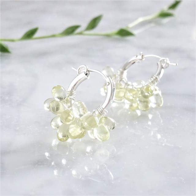 SV925 SF宝石質Lemon Quartz*wrapped hoop pierced earring / earring