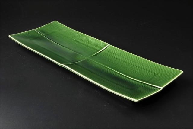 緑釉千段34cm長皿 美濃焼