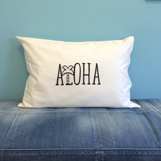 ALOHA PILLOW CASE [WHITE]