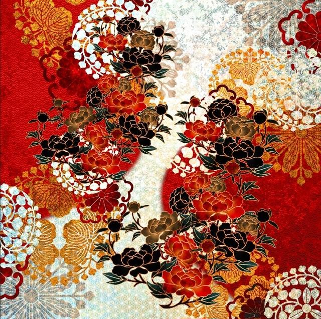 牡丹家紋紅白 フレアキャミソールドレス
