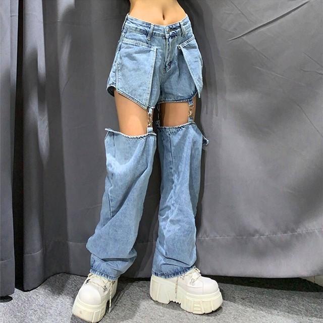 【ボトムス】ショート丈ロング丈自由切り替え無地ファッションデニムパンツ32215048