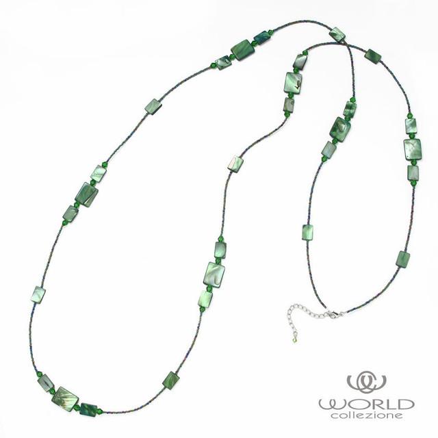 【worcolle】シェルの長方形パーツロングネックレス(グリーン)【No.132554】