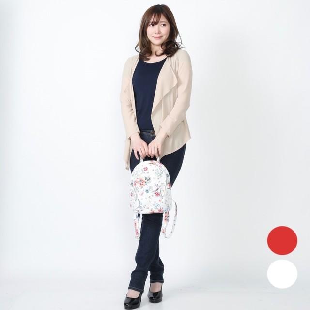 【イタリア製】リュックサック バッグ 赤、白花柄