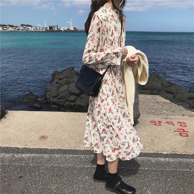 花柄ワンピース 韓国ファッション 長袖ワンピ RPSK102202