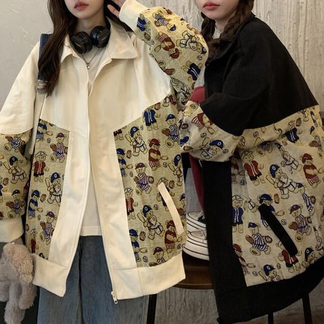 くまちゃん ジャケット ベアー ジップアップ 薄手 長袖 レトロ ルーズ 韓国ファッション レディース 大人可愛い ガーリー カジュアル ストリートファッション / Vintage bear thin loose hip hop jacket (DTC-652685578373)