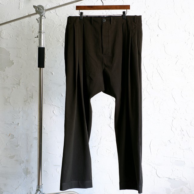 JAN JAN VAN ESSCHE - LOOSE FIT PLEATED TROUSERS WITH DRAWSTRING IN WAISTBAND #65 - DARK FOREST - DRY WOOL TWILL