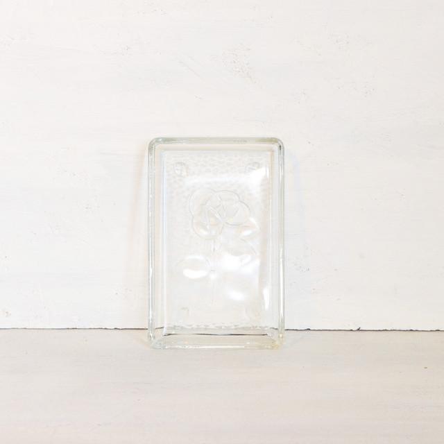 【R-322】レトロ バラ柄ガラススクエアトレイ