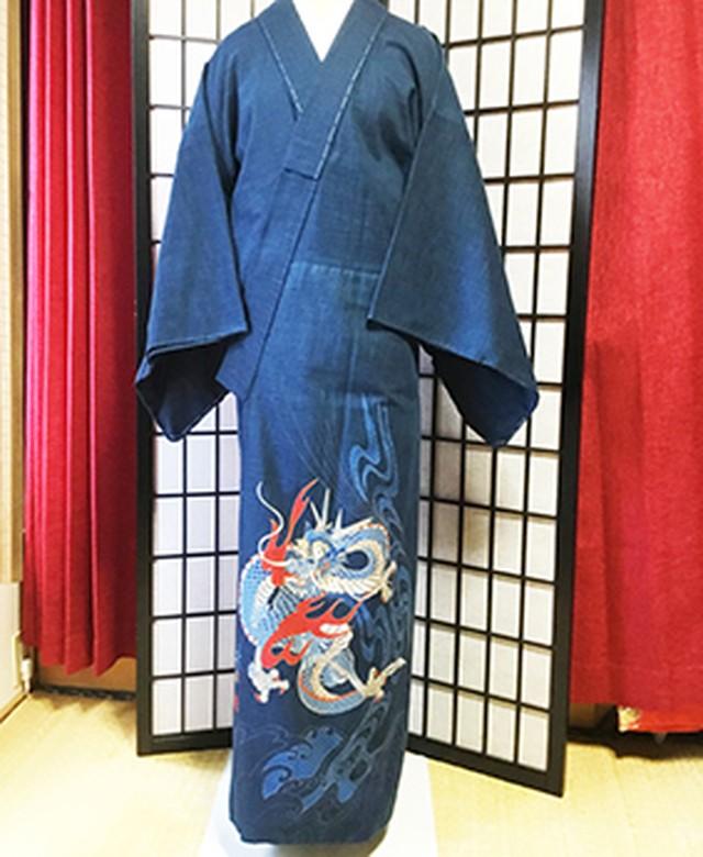 【国内手縫い】創作 メンズ着物 鶴【レア!いってんもの】03