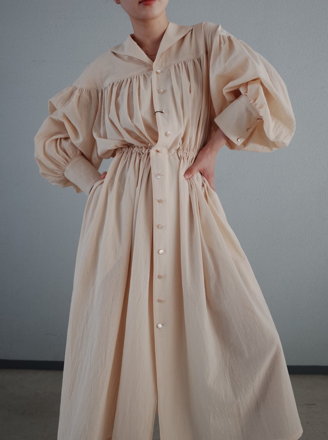 【BELPER】GATHERED SHIRT DRESS