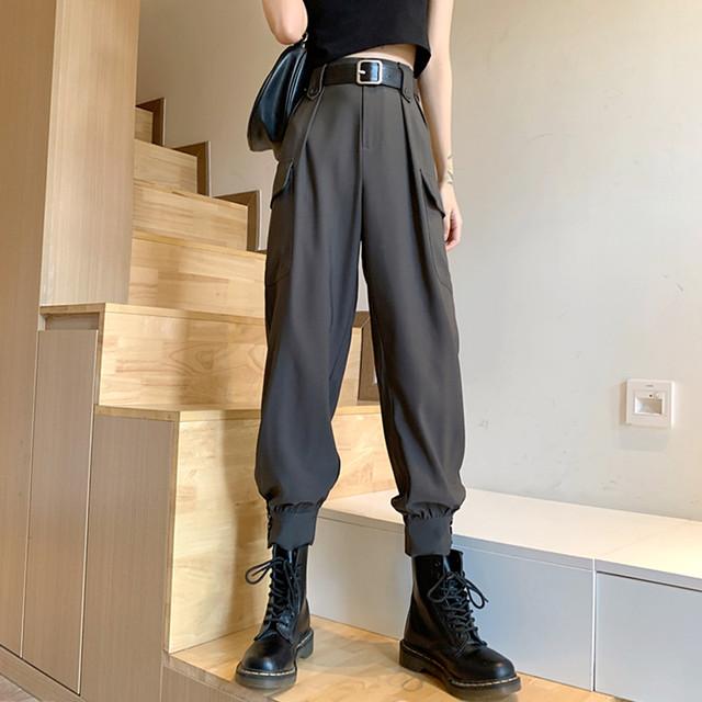 【ボトムス】韓国系無地ハイウエストレギュラー丈カジュアルパンツ33596482