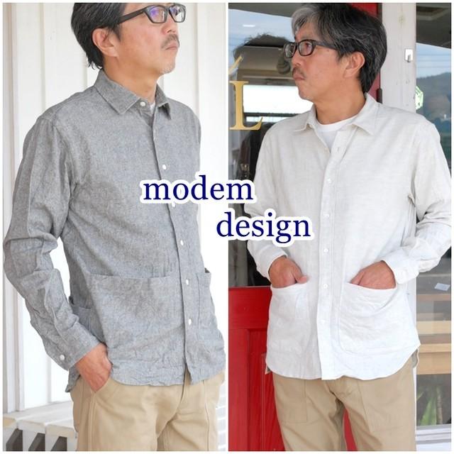 MODEMDESIGN モデムデザイン 長袖シャツ ワークシャツ メンズ ナイロン M1703755